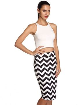 Picture of Casual Print Knee Length Pencil Skirt