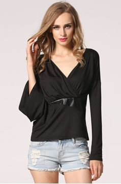 Picture of Irregular Length Sleeve V-Neck Top