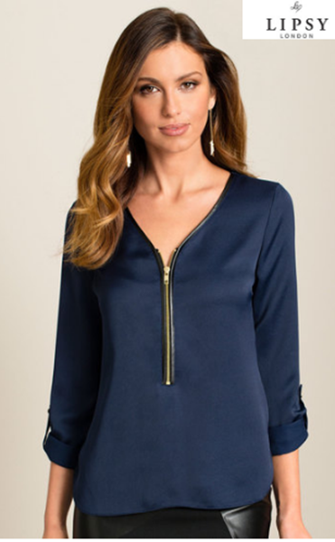 Picture of Lipsy Zip Up PU Blouse