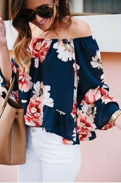 Picture of Floral Print Short Chiffon Crop Top